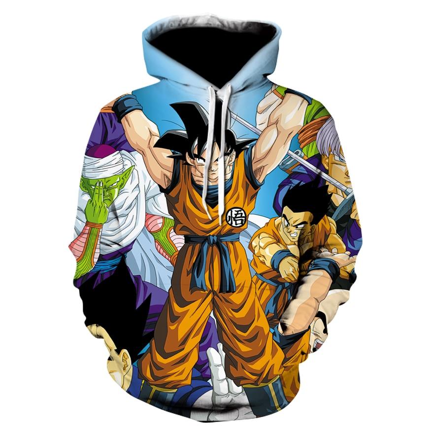 Men 3D Anime Hoodies Dragon Ball Z Pocket Hooded Sweatshirts Male Kids Goku Vegeta Printed Hoodies Boys Pullovers Tracksuits