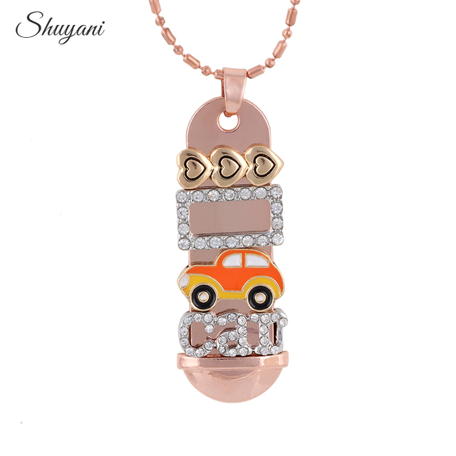 New Trendy Rose Gold Color Plated Car Charms Tag Pendant Necklace