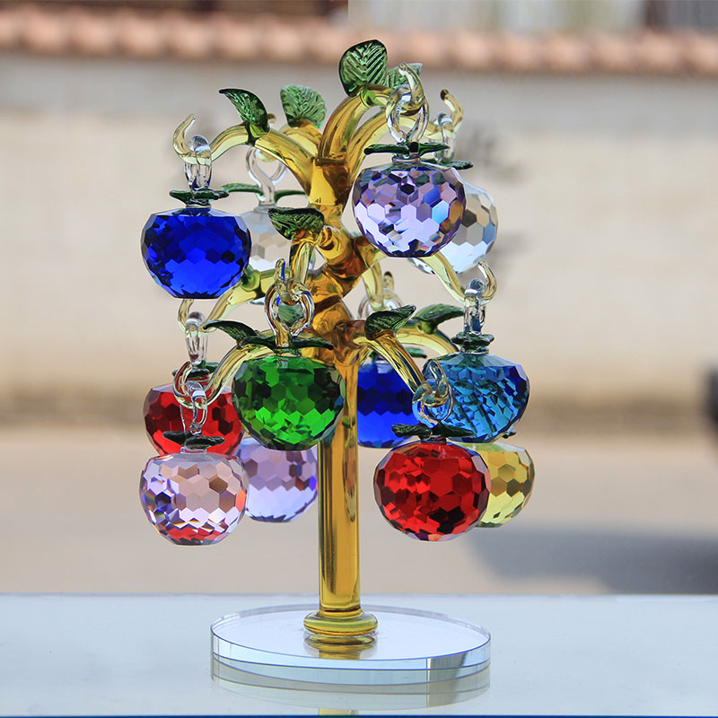 Low Price  Crystal Glass Apple Tree Ornaments with 12pcs 40mm Apples Home Decor Figurines Christmas New Year C
