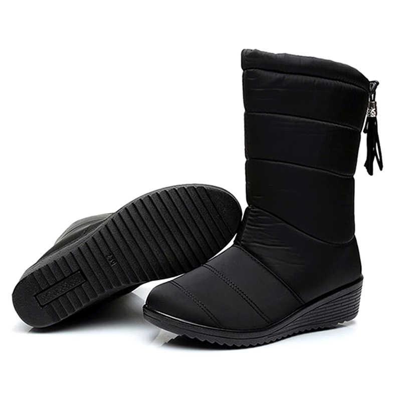 Kadın botları kış orta buzağı botları sıcak kürk kar çizmeler kadın ayakkabıları kışlık botlar su geçirmez aşağı kış ayakkabı kadın ayakkabı