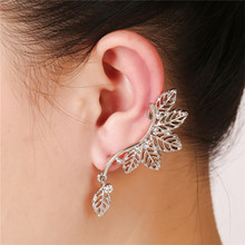 2017  Women clip earrings punk Jewelry Gold/Silver Plated Pave Crystal Inlaid Vintage Hollow Out Alloy Leaf Ear Cuff Earrings