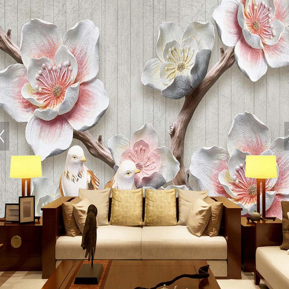 buy 3d embossed pink plum flower wall mural living room home wall decor papier. Black Bedroom Furniture Sets. Home Design Ideas
