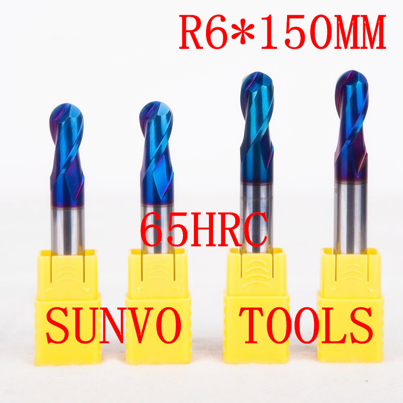 1PCS R6x150MM 12MM HRC45 HRC50 HRC55 HRC60 HRC65 CNC Milling tools Milling cutter Ball nose End Mill CNC router bits 10pcs box 1 8 inch 0 8 3 17mm pcb engraving cutter rotary cnc end mill milling cuter drill bits