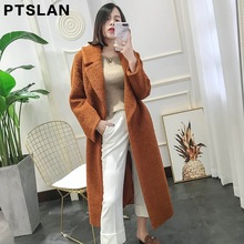 2017 New Autumn Winter Women's Real Leather Alpaca Fur Long Jacket Coats