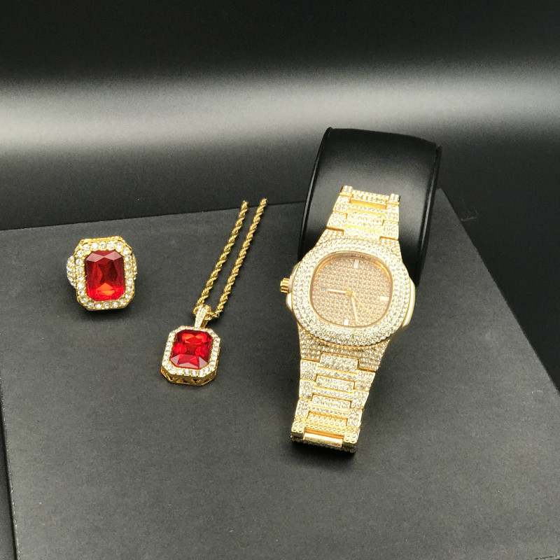 Luxury Men Gold Diamond Watch Men Watch & Red Ruby Ring Combo Set Ice Out Cuban Diamond Gold Watch Hip Hop Jewelry For Men