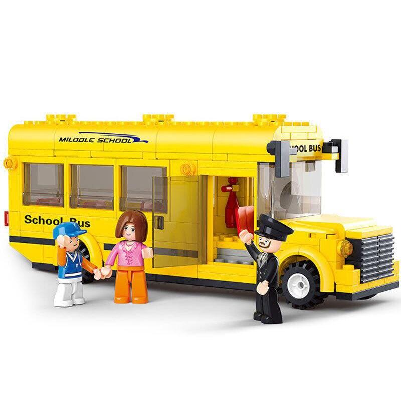 0507 Sluban 218pcs Yellow School Bus Building Blocks Bricks Set Educational Toys for Children gift Old LegoINGly City Bus