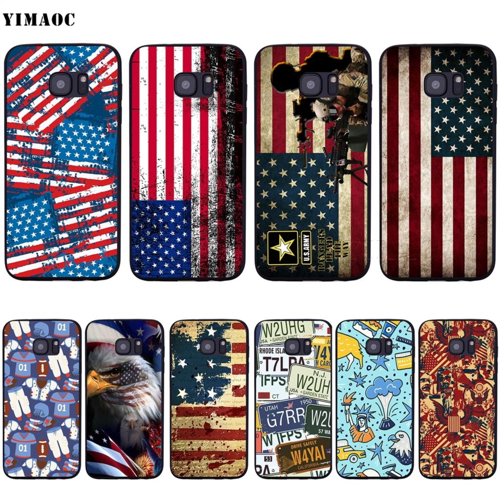 US $1 97 40% OFF YIMAOC United States USA Flag Soft Silicone Case for  Samsung Galaxy S6 S7 Edge S8 S9 Plus A3 A5 A6 Note 8 9-in Fitted Cases from