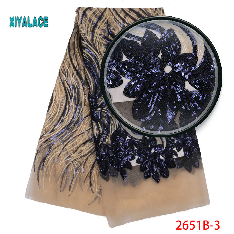 African Lace Fabric 2019 High Quality Sequins Lace Fabric Embroidery Tulle African French Lace For Nigerian Party Dress 2651b-in Lace from Home & Garden    2
