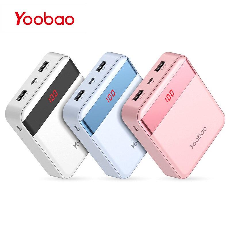 imágenes para M4Pro Yoobao 10000 mAh Colorido Mini Banco Móvil 2 USB puertos de Salida y Entrada 2A 2A LED Batería Del Teléfono Digital cargador