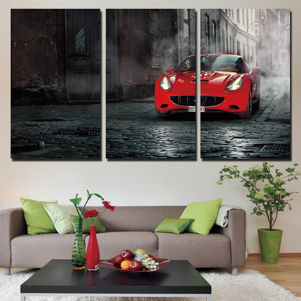 Red Abstract Car Art