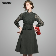 New Princess Women Dress 2017 Autumn Winter Office Ladies Hollow Out Lace Patchwork Long Sleeve A-Line Casual Grey Cotton Dress