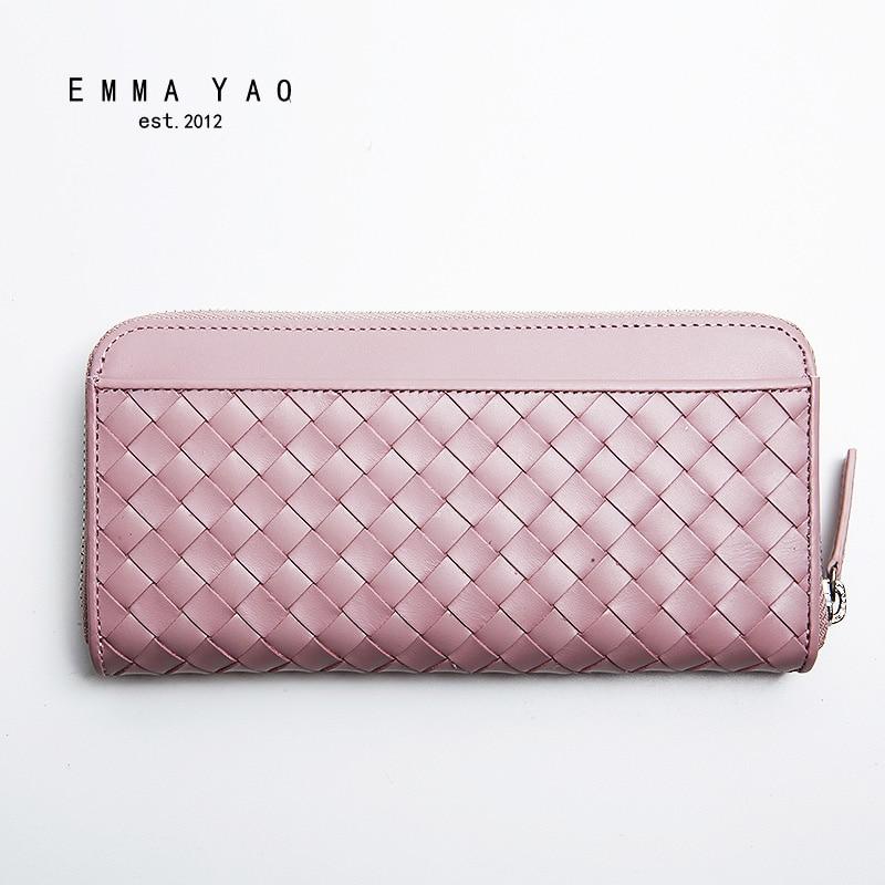 EMMA YAO Women's leather wallet female brand coin purses holders fashion women long wallet цены