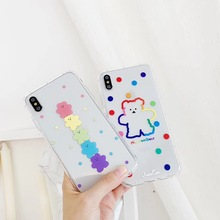 INS Korea super fire candy color bear phone case For iphone Xs MAX XR X 6 6s 7 8 plus cute wave point clear soft TPU back cover aertemisi ins korea super fire candy color bear phone case for iphone xs max xr x 6 6s 7 8 plus cute wave point clear soft tpu