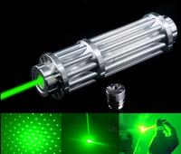 High Power Laser Pointer Pen Green 532nm Military Zoomable Burning Beam focus burn matches with 5 laser heads