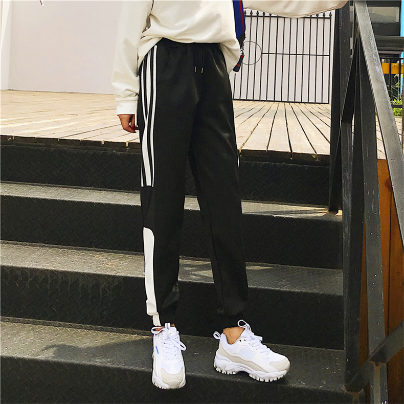 Cargo Pants Women Patchwork Long Pants High Waist Side Striped Black Trousers Student Elastic Waist Harajuku Plus Size Bottoms 62