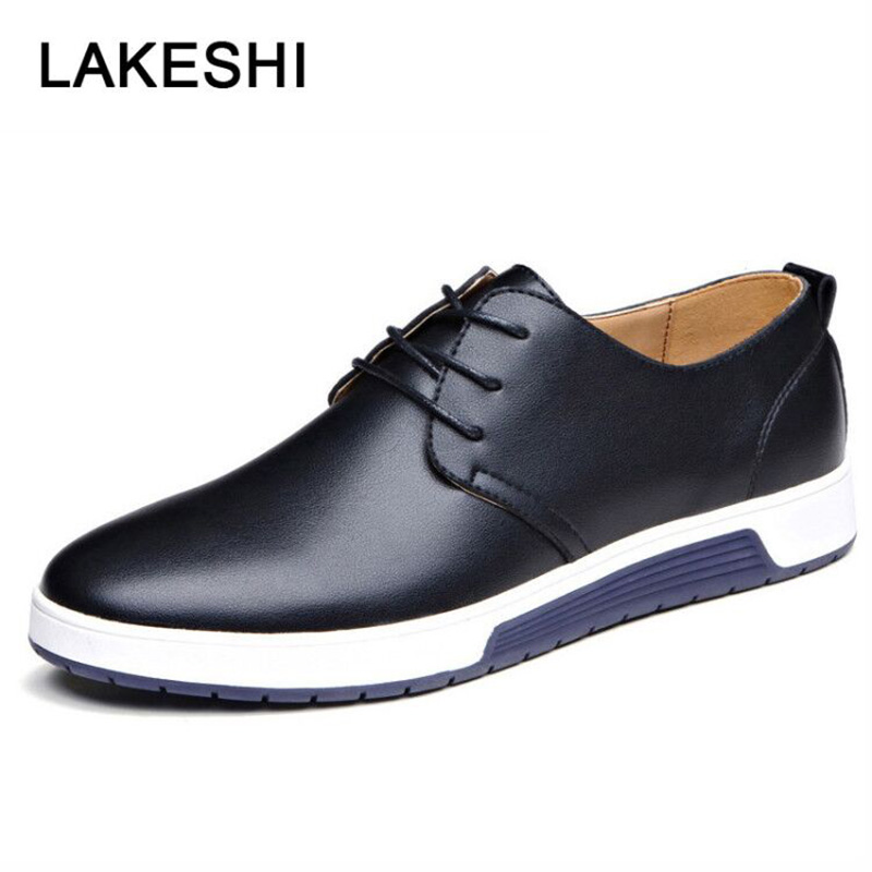 Luxury Brand Men Shoes Leather Men Casual Shoes Fashion Male Adult Footwear Black Blue Brown Flat Shoes For Men Vulcanized Shoes