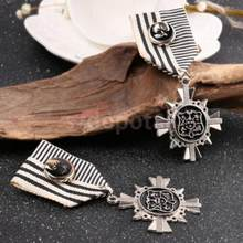 1 PC Unisex Steampunk Gaun Mewah Pesta Warna Perak Medali Bros Pin Lencana(China)