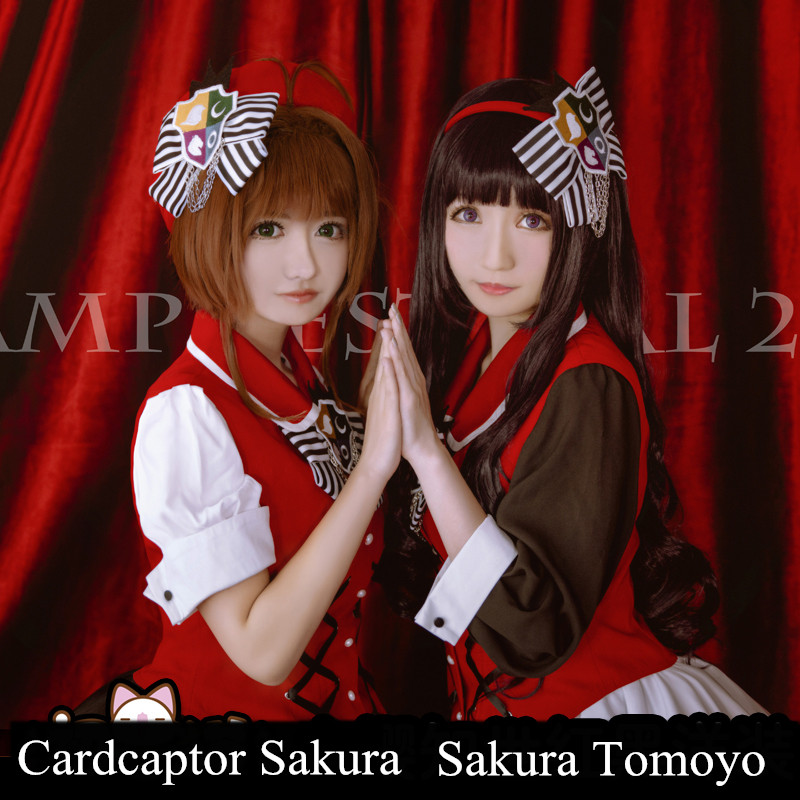 Anime! Cardcaptor Sakura Sakura Kinomoto Daidouji Tomoyo Red Black Lovely Lolita Dress Uniform Cosplay For Women Free Shipping kinomoto sakura kero daidouji tomoyo anime cardcaptor sakura rubber keychain