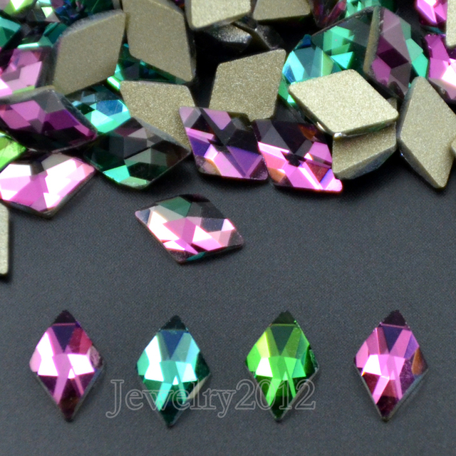 86027b2fc8 US $11.38 10% OFF|100PCS/Pack 17 6x9mm Rhombus Vitrail Medium No Hotfix  Rhinestone Multi Shape Crystal Glass 3D Nail Art Gllitter Beads Top -in  Beads ...