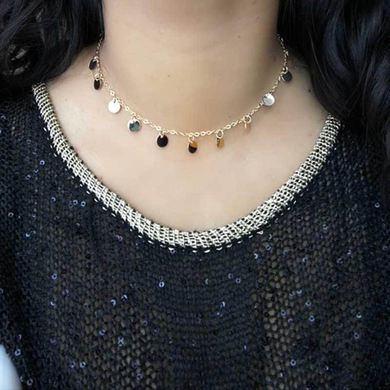 Модное ожерелье, s чокер, бохо ожерелье для женщин, Золотая цепочка, богемная Ювелирная монета, подвески, чокеры, воротник, ювелирные изделия, подарки