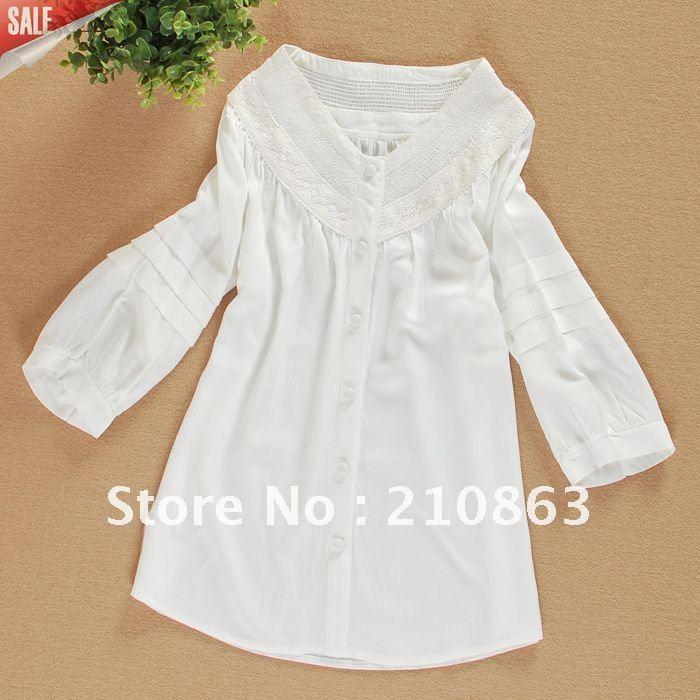 Hot Sale Ladies Fashion Shirts Women 2012 Summer White Blouses Puff