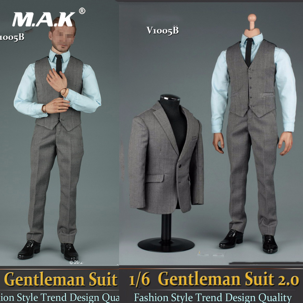 1/6 Male Figure Accessory V1005B Grey Gentleman Suit Set 2.0 & Shoes Model for 12'' Action Figures Model Body Accessories-in Action & Toy Figures from Toys & Hobbies    1