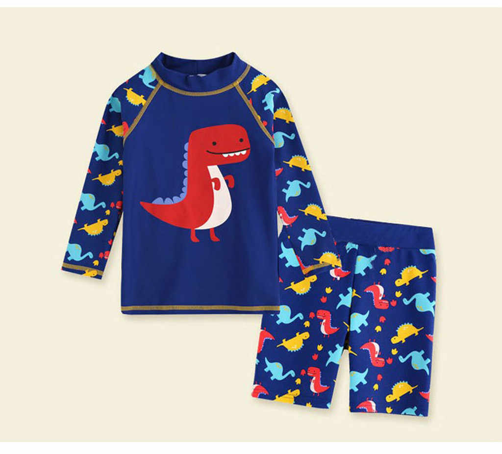 Kid Baby Boy swimwear Long Sleeve 3D Dinosaur Cartoon toddler bathing suit Beach Swimwear 2pcs children swimsuit zwembroek baby