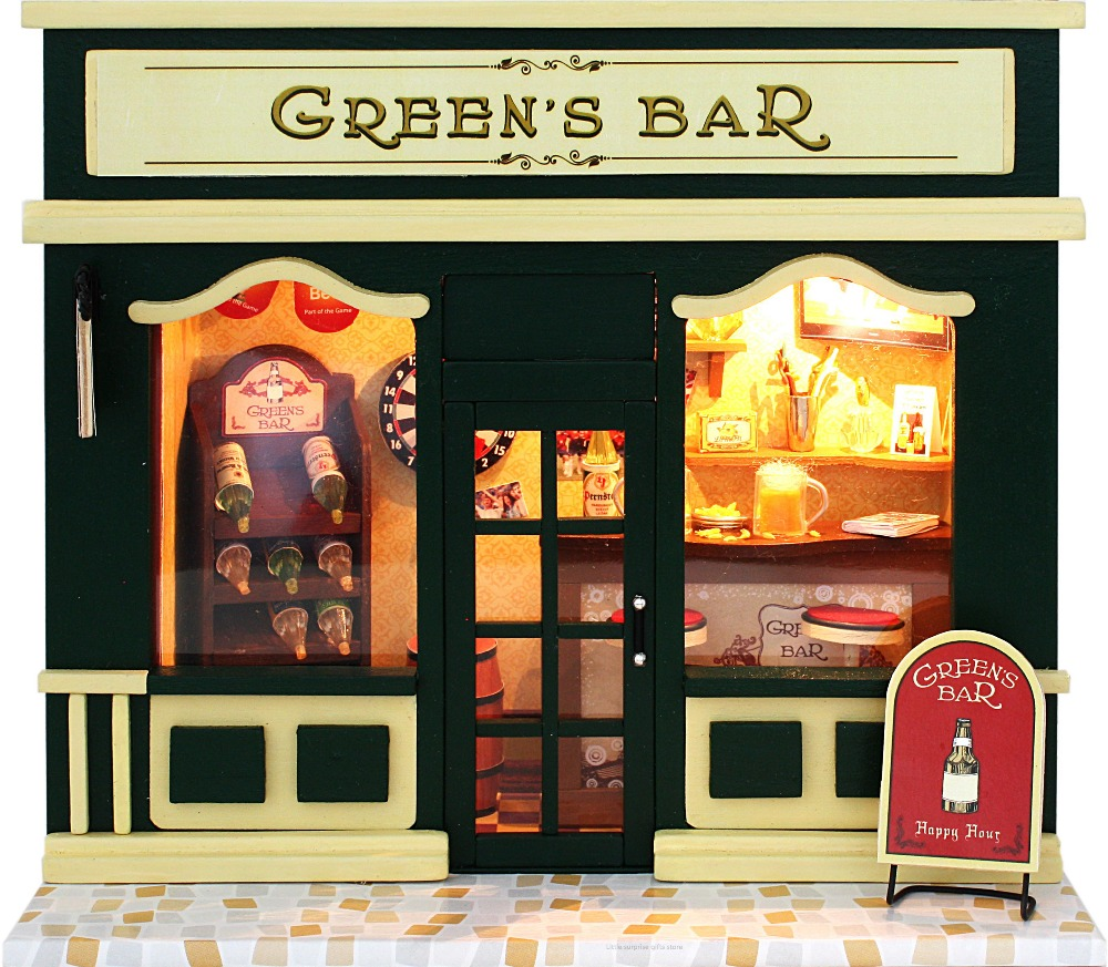 2018 HOT Green's Bar Miniature Model Dollhouse 3D Assemble Toys With Funitures Building Kits For Kids Or Adults Creative Gifts