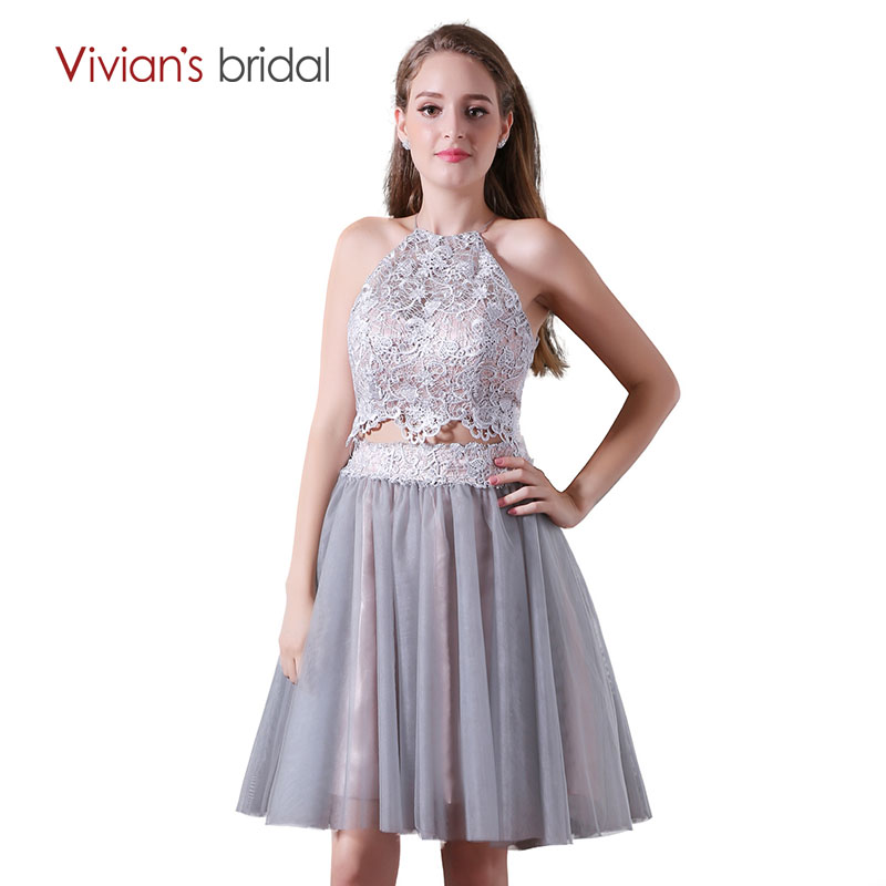 A Line   Cocktail     Dresses   Halter Sleeveless Lace Tulle Party   Dress   VIvian's Bridal vestido de festa curto