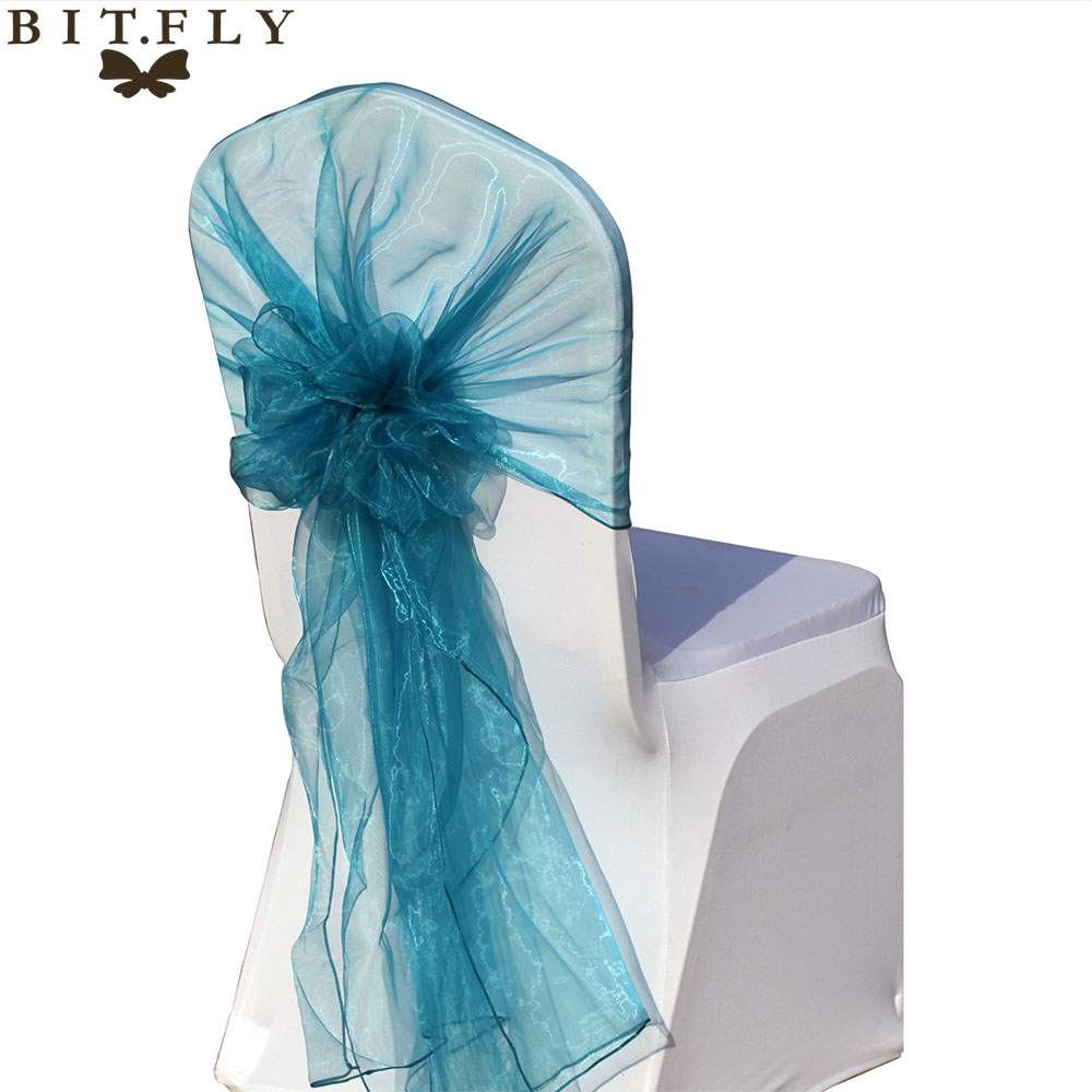 (65X275 cm)100pcs Organza Fabric Chair Hoods Chair Caps Wrap Tie Back Chair Cover Sash For DIY Wedding Party&Banquet Decoration