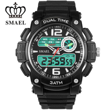 SMAEL Waterproof Sport Watches Dual Display Wristwatches Big Dial Men Casual Men Watch Digital reloj hombre montre homme  WS1326
