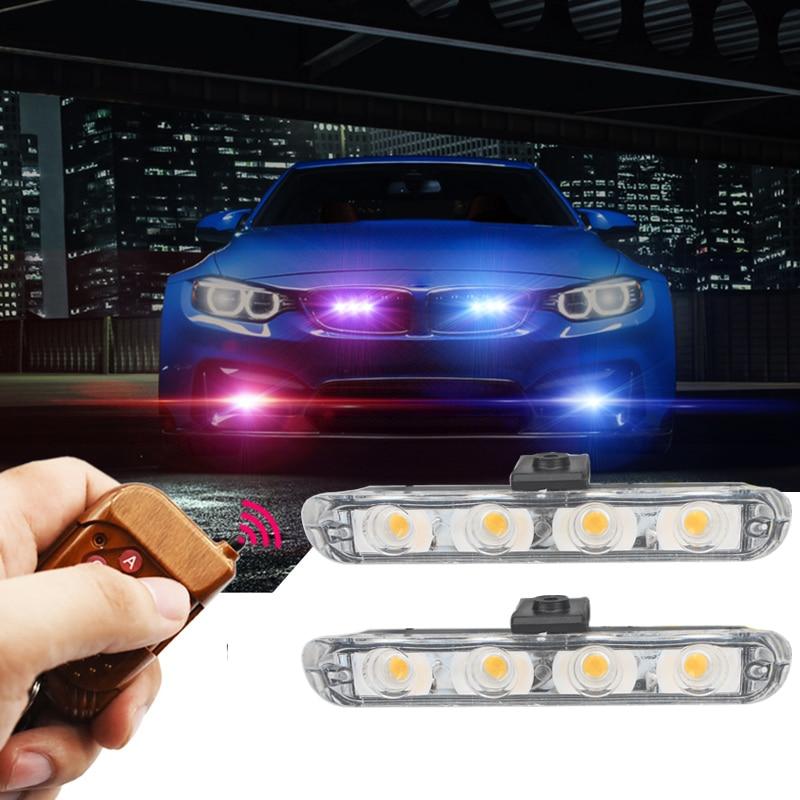 car-styling 2x4/led DC 12V Strobe Warning light Wireless Remote Control Flashing Firemen Lights Ambulance Police lights цена