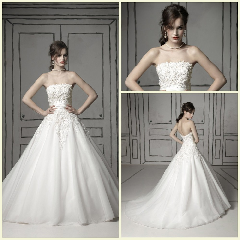 Beautiful Ball Gown Wedding Dresses: Beautiful Strapless Silk Dupioni Sash Tulle And Venice