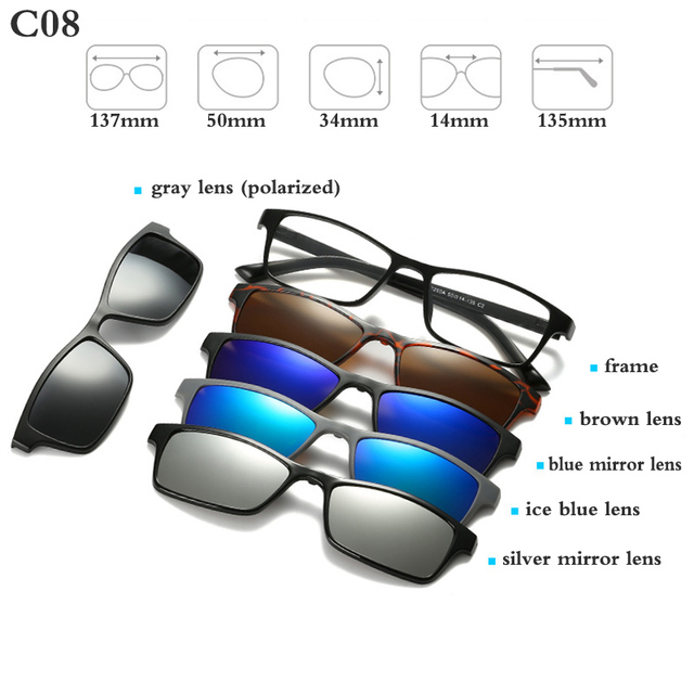 Fashion Optical Spectacle Frame Men Women With 5 Clip On Sunglasses Polarized Magnetic Glasses For Male Myopia Eyeglasses RS159 3