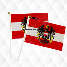Austria Bird Hand Held Stick Cloth Flags Safety Ball Top Hand National Flags 14*21CM 10pcs a lot 0010