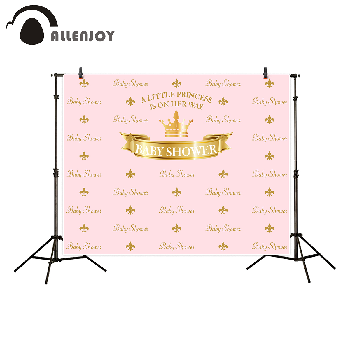 Allenjoy pink princess crown background for photography birthday step and reapeat banner baby shower backdrop photo studio photography background baby shower step and repeat allenjoy backdrop custom made any size any style
