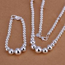 Silver Jewelry Set for Women Fashion Ball Beads Buddha Chain Necklace Bracelet 2 pcs Bridal Wedding