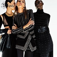 2017 New Free Shipping Fashion Elegant Rivet Embellished Long Sleeves Mini Wholesale Women Celebrity Evening Party