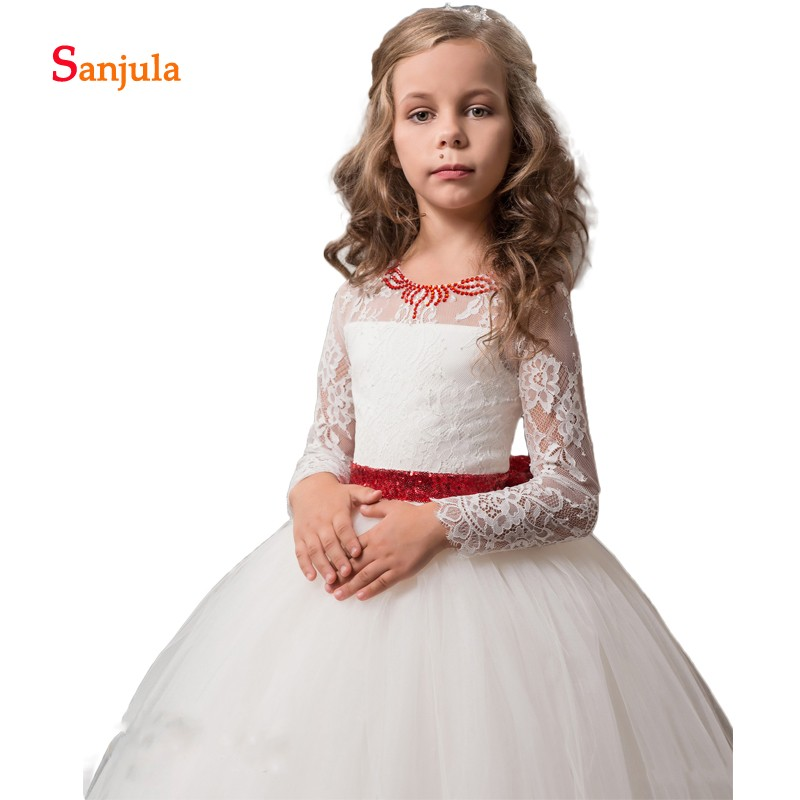Long Sleeve Wedding Party   Dress   for Children   Girls   Pageant   Dress   with Red Sequin Beaded Ivory   Flower     Girls     Dresses   Back Bow D111