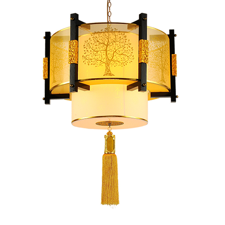 Style chinois en bois pendentif lumières étude thé pavillon salon salle à manger personnalité motif pendentif lampes ZA ZS72