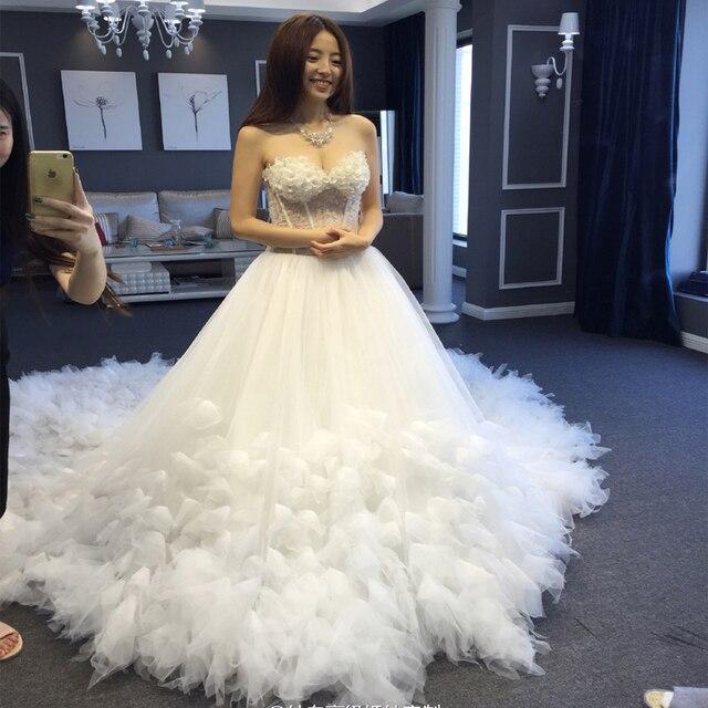 Robe De Mariee sur mesure Robe De fleurs en dentelle De luxe pour la fête De mariage avec Train bretelles élégantes robes De mariée princesse 2019