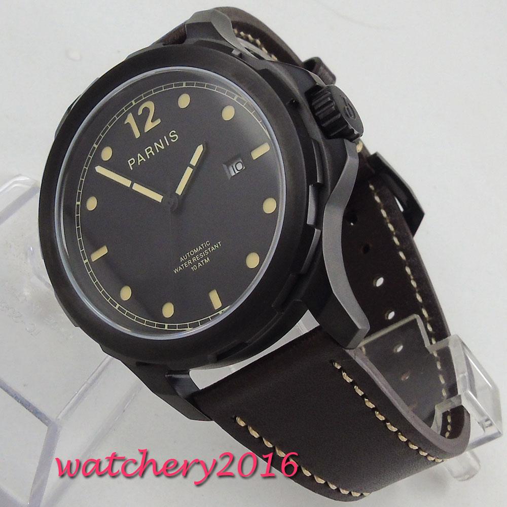 лучшая цена 2018 New Arrival Parnis 44mm Mens Watches Miyota Luminous Hands Mechanical Watches Luminous Waterproof Black Dial Watch Men Gift