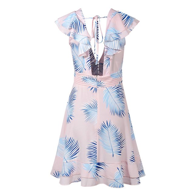DeRuiLaDy 2019 Women Sexy V Neck Leaf Print Chiffon Mini Dress Female Elegant Ruffle Summer Dresses Ladies Casual Beach Dress