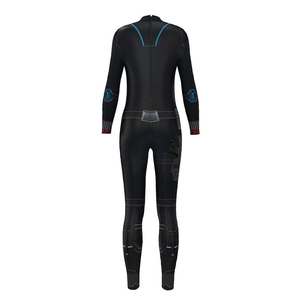 2019 Avengers Infinity Savaş siyah dul kostüm siyah dul tulum cosplay 3D baskılı seksi kadın sıkı tulum ter
