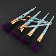 Diamond 7pcs Blue Crystal Handle Premium Full Function Makeup Brushes Unicorn Complete Portable Cosmetic Beauty Make Up Brushes