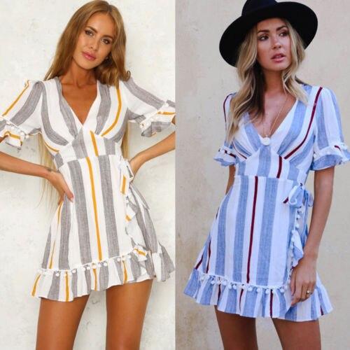355134f506 Aliexpress.com : Buy Boho Women Holiday V Neck Frilled Mini Dress 2018 New  Casual Summer Beach Stripe Tassel Sleeveless Party Dresses Sundress from ...