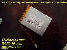 best battery brand Free shipping A new article 3.7 V lithium polymer battery 2800 mah 406685 ma tablet battery