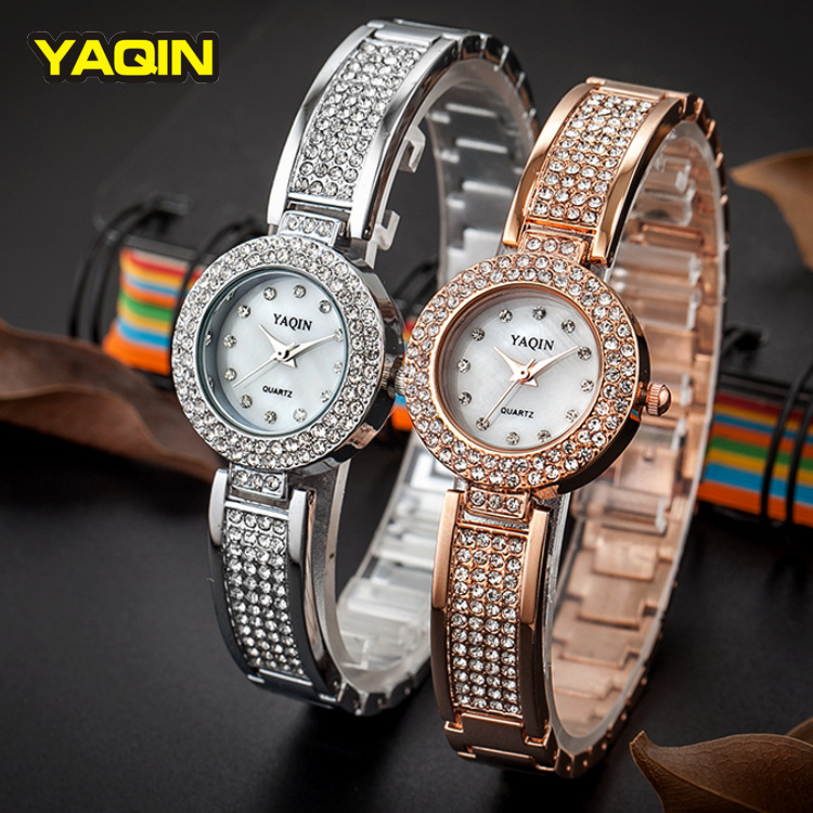 2017New YAQIN Brand Steel Band Luxury Lady Watches Bracelet Clasp Fashion CZ Crystal Rhinestone Quartz Women Watch6171 new arrival bs brand full crystal steel band bracelet watch women luxury tonneau diamond watch lady rhinestone bangle bracelet