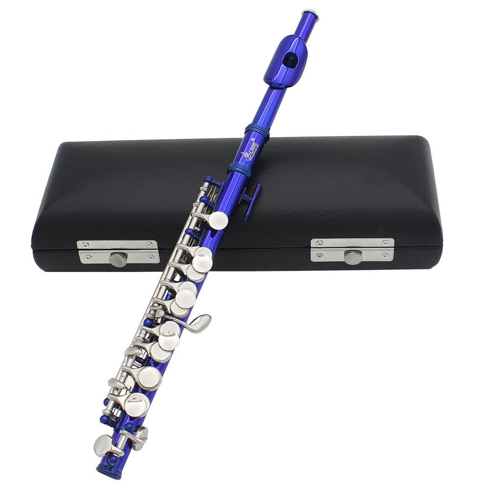 SYDS LADE Piccolo Half-size Flute Plated C Key Cupronickel with Cork Grease Cleaning Cloth Screwdriver Padded Box blue 16 holes c key flute cupronickel plated silver woodwind instrument with cork grease cleaning cloth gloves padded case