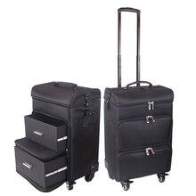 Mężczyźni wózek kosmetyczka Rolling torba na bagaż na kółkach, dziewczyny Nails makijaż przybornik, kobiety uroda tatuaż salony walizka